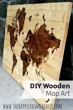 This awesome DIY Wooden World Map Art is a great addition to any kid's room or your office. Clean up leaked wood stain with Bounty Paper Towels: they are 2X more absorbent, so they won't leave a mess behind!