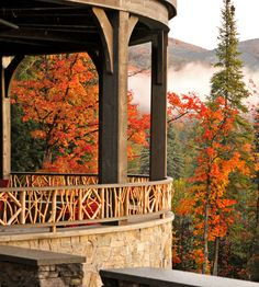 Colorful leaves and mountain views at Lake Placid, NY  #LoveLakePlacidLodge