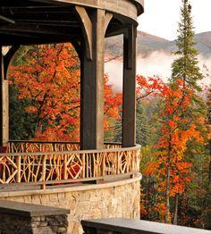 Colorful leaves and mountain views at Lake Placid, NY  #LoveLakePlacidLodge