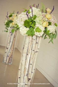 tall floral vases | birch in tall glass vases
