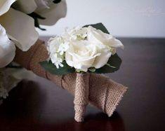 Wedding Boutonniere Rustic Rose Hydrangea Wedding Boutonniere via Etsy