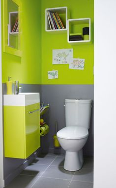 Peinture WC gris anthracite et gris perle et touches jaune vif ...
