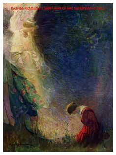 """Often They Appeared in the Little Garden"", 1918 from Joan of Arc, the Warrior Maid by Lucy Foster Madison. ~ Illustration by Frank E. Joan D Arc, Saint Joan Of Arc, St Joan, Jeanne D'arc, Catholic Art, Religious Art, Roman Catholic, Pre Raphaelite, Sacred Art"