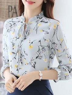 Buy Women's Blouse Flare Sleeve Floral Pattern Ruffled Collar Plus Size Top & Blouses - at Jolly Chic Blouse Styles, Blouse Designs, Shirt Blouses, Blouses For Women, Fashion Dresses, Tops, Clothes, Unusual Wedding Dresses, Petal Sleeve
