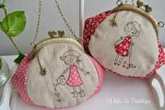 Bolsos con cierre metálico | El taller del hilo de Penélope Blackwork Embroidery, Embroidery Bags, Machine Embroidery Applique, Drawstring Bag Diy, Diy Coin Purse, Frame Purse, Purse Tutorial, Fabric Bags, Crochet Purses