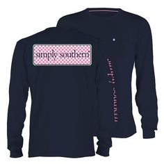 Simply Southern Long Sleeve Printed Tees ($24) ❤ liked on Polyvore featuring tops, t-shirts, black, women's clothing, unisex t shirts, black t shirt, black cotton t shirt, long sleeve pocket t shirts and long sleeve t shirt