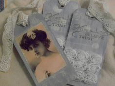 Lady In Blue Handmade Journal or Gift Tags  by DistressedDonna, $7.00