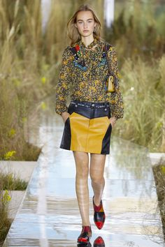 Color block leather mini skirt #Coach, Spring 2016 #NYFW