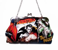Psychobilly Hollywood Monsters Kisslock Clutch Purse by ExyArnette, $46.00