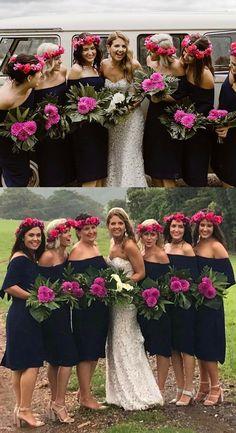 modest navy blue short bridesmaid dresses, unique off the shoulder sheath wedding party dresses, simple bridesmaid dresses with sleeves #bridesmaids