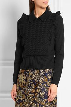 Prada - Ruffled Wool Sweater - Black - IT36