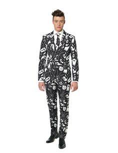 Costume noir imprimé blanc homme Suitmeister™ Halloween : Ce déguisement de la marque Suitmeister™ se compose d'une veste, d'un pantalon et d'une cravate (chemise et chaussures non incluses).Parfaitement cintrée, la...