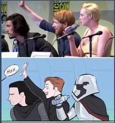 I love the drawing  because Phasma is there trying to drink with the mask on #StarWars #FirstOrder