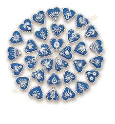 """Heart cookies in blue and white; Ékes Mézeskalács Ajándkékok: A """"hagyományos""""… Heart Shaped Cookies, Heart Cookies, Iced Cookies, Cute Cookies, Cupcake Cookies, Cupcakes, Valentine Cookies, Christmas Cookies, Valentines"""