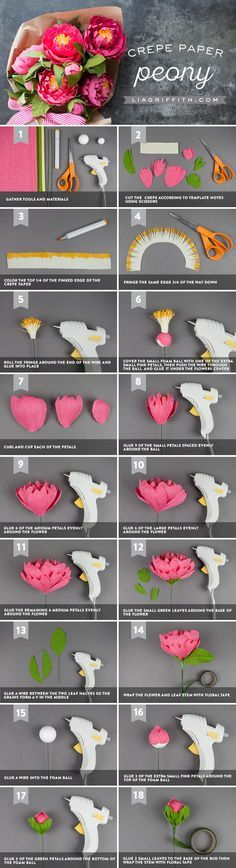 Heavy Crepe Paper Peonies - Lia Griffith - www.liagriffith.com #paper #paperart #paperlove #crepepaper #crepepaperrevival #crepepaperflowers #paperflowers #paperflower #diyinspiration #madewithlia