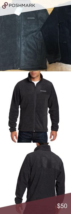 Columbia Men's Steens Mountain Front-Zip Fleece 100% Polyester Color is Charcoal Heather  Zipper closure Machine Wash Front-zip fleece jacket with standing collar and logo at chest On-seam zippered side-entry pockets Columbia Jackets & Coats