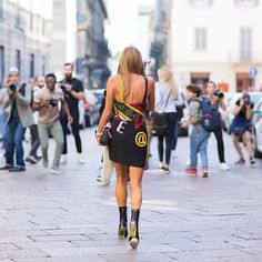 Anna Dello Russo in Versace Fall 2015 #@ dress during Milan Fashion Week Federico Avanzini  (@bigfede)