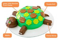 DIY Turtle Cake: Make a turtle birthday cake with fruit chews. Easy, step-by-step recipe, diagrams and picture.