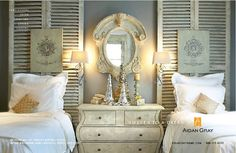 guest bedroom idea - love the shutters ... twin beds in 1 room because I know neices and nephews will come to visit!