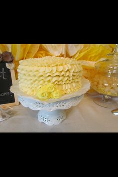 """Ruffle cake for """"You are my Sunshine"""" Party"""