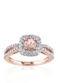 Belk  Co. Pink 14k Rose Gold Morganite and Diamond Ring