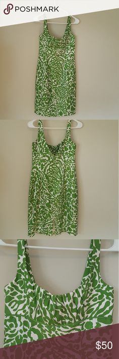 1c77805418634 MILLY GREEN and white jungle print dress silk 2 Perfect condition Ruched  bust with slim fitted