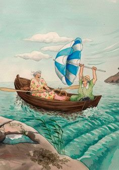 In a small village in Finland lives the world-famous artist-illustrator Inge Löök. Inge Look - pseudonym of the artist, real name Ingeborg Lievonen. Old Lady Humor, Baumgarten, World Famous Artists, Whimsical Art, World Best Photos, Friends Forever, Old Women, Belle Photo, Canoe