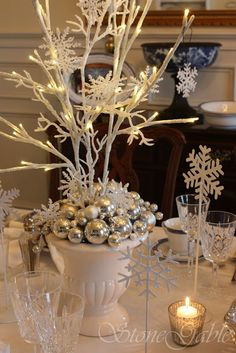 White Christmas centerpiece-on the midst of all this chaos I am still planning the Hilton holiday party, theme decided white on white Xmas! Pure and beautiful❤❤ Christmas Topiary, Christmas Branches, Christmas 2015, All Things Christmas, White Christmas, Christmas Crafts, Snowflake Centerpieces, Christmas Centerpieces, Christmas Decorations