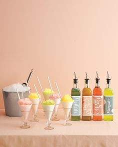 Trend Alert: Snow Cones with a Twist. Snow Cone Station with Mojito, Peach Daiquiri, Cosmo & Margarita cocktail syrups. ~The Wedding Insiders Cocktail Syrups, Margarita Cocktail, Margarita Flavors, Photobooth Ideas, Peach Daiquiri, Beauty And More, Snow Cone Syrup, Granita, Ideas Party