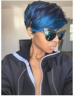 Mayvenn short blue pixie cut