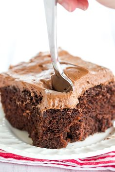 Chocolate Dump-It Cake: An old-fashioned recipe for chocolate cake mixed together in one pot, topped with cream cheese-chocolate frosting.