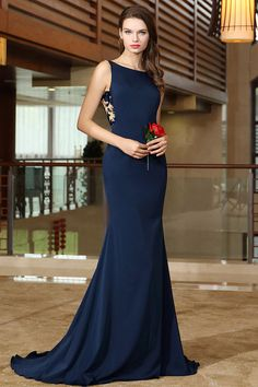 c3381f13349da8 Elegant Dark Navy Straps Silky Satin Lace Fit and Flaring Long Evening/Prom  Dress