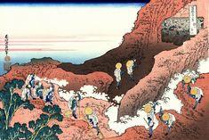 36 Views Or Mount Fuji - Katsushika Hokusai c. 1760 - 1849. This print is Additional #6/10 being an ink print made from woodblock. Title - Climbing on Fuji.  Shojin tozan.  諸人登山