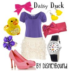 Shake your tail feather in this adorable Daisy duck outfit. | Disney Fashion | Disney Fashion Outfits | Disney Outfits | Disney Outfits Ideas | Disneybound Outfits |