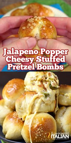 Jalapeno Popper Cheesy Pretzel Bombs Soft and chewy pretzel poppers are stuffed with ooey gooey cheese, crispy bacon and spicy jalapenos. This scrumptious recipe is [. Yummy Appetizers, Appetizer Recipes, Girls Night Appetizers, Game Day Appetizers, Cooking Recipes, Healthy Recipes, Bacon Recipes, Jam Recipes, Recipes With Jalapenos