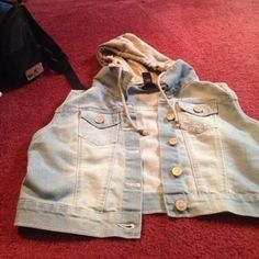 Jean jacket ! Size large but fits like a medium with a removable hoodie ! #jeanjacket Rue 21 Jackets & Coats Jean Jackets