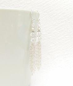 Silver Tassel Earring Clear Crystal Tassel Earring by JanJat