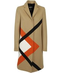 MSGM Geometric Pattern Coat ($635) ❤ liked on Polyvore featuring outerwear, coats, long sleeve coat, msgm and beige coat