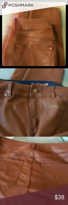 Chico's Platinum coated denim Awesome leather look  coated jeggings..chicos sz 1 so like medium (8)....cotton,poly,spandex, machine wash..color is like tobacco brown..sure wish they were a 2.5 (14)!..2nd pic is best of color chicos Jeans Skinny
