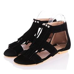 ca3e46a6c YABINA Women Summer Gladiator T Strap Tassel Sandals Dress Flats Thongs 7  Black    Check this awesome product by going to the link at the image.