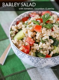 Barley Salad with Tomatoes, Cucumber and Parsley   This light, summery barley salad full of fresh tomatoes, cucumber and parsley is reminiscent of your favorite Middle-Eastern salads and makes for the perfect summer side dish.