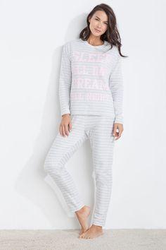 Womensecret Pyjama polaire long «Sleep all day dream all night» imprimé