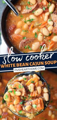 Make this Slow Cooker White Bean Cajun Soup in the winter! Loaded with beans, andouille sausage, veggies, and a flavorful broth, this cozy, hearty bowl of comfort is sure to warm you up from the inside out. Your family will even be fighting over the leftovers from dinner! Best Crockpot Recipes, Crockpot Meals, Slow Cooker Recipes, Veggie Recipes, Real Food Recipes, Easy Recipes, Easy Meals, Chowder Recipes, Soup Recipes