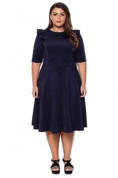 Navy Frill Sleeve Plus Size Skater Dress