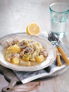 Κοτόπουλο με αγκινάρες αλά πολίτα - www.olivemagazine.gr Camembert Cheese, Food Porn, Greek, Recipes, Treats