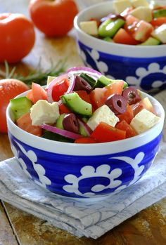 Classic Greek Salad: a fresh, crisp and colourful salad that's delicious with meat, fish or a Greek Salad, Fruit Salad, Crisp, Side Dishes, Salads, Meat, Classic, Ethnic Recipes, Food