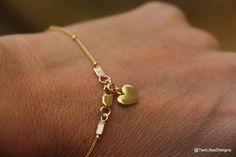 Silver Heart Bracelet, Gold Heart Bracelet, Sea Star Charm Bracelet, Gold or Silver Bracelet, Dainty Bracelet, Tiny  Minimalist Bracelet