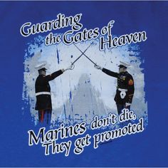 US Marine Corps Guarding The Gates Of Heaven Royal Blue T-Shirt | Sgt Grit - Marine Corps Store