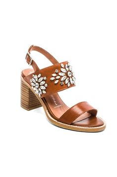 Jeffrey Campbell Dola Embellished Heeled Sandal in Tan | REVOLVE