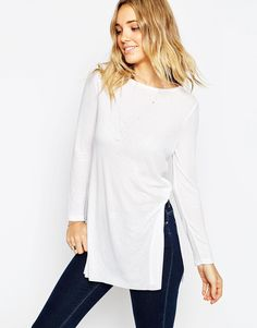 ASOS+Longline+Top+With+Side+Splits+And+Long+Sleeves